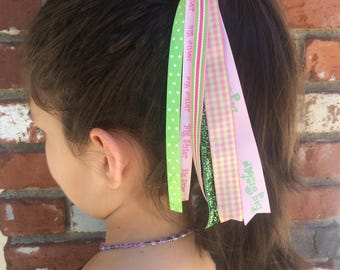 Big Sister Ponytail Streamer, Hair Streamer, Ribbon Streamer, Ponytail Holder, Handmade Accessories, Hair Tie Elastic, Hair Accessories