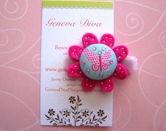 Little Butterfly Pink Felt Flower Hairclip