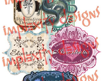 Magical Apothecary Potion Bottle Labels (Set #1) PNG Downloads