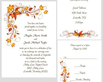 100 Personalized Custom Fall Autumn Leaves Bridal Wedding Invitations Cards Set