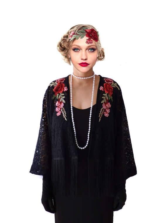 1920s Coats, Flapper Coats, 20s Jackets Kimono Flapper Jacket Floral Black Red Flower  $55.00 AT vintagedancer.com