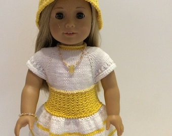 18 Inch Doll Dress - Sunshine yellow and white hand knit dress/hat ensemble for Spring