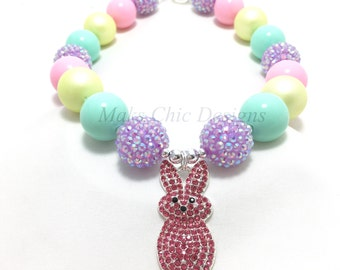 Toddler or Girls Pink Bunny Chunky Necklace - Purple, Mint, Yellow and Pink Chunky Necklace - Girls Pastel Easter Chunky Necklace - Spring