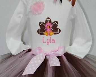 Baby girl Thanksgiving outfit, Football bodysuit,Girls Thanksgiving Day bodysuit,Pink and brown tutu,Football headband,Football turkey
