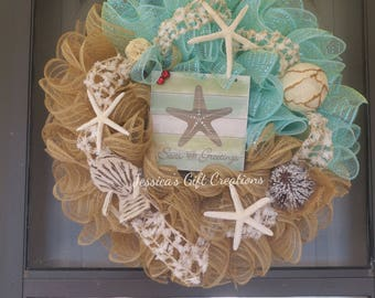 Ready to Ship Sea Greetings Wreath/Christmas Mesh Wreath/Front Door Wreath/Beach Wreath/Holiday Door Hanger/Seasonal Wreath/Winter Wreath