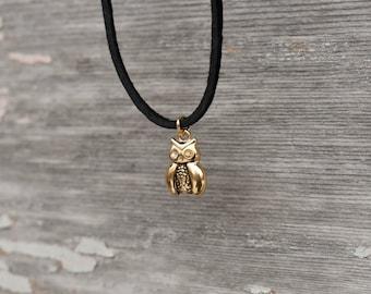 Owl Necklace, Owl Choker, Owl Jewelry, Gold Owl Necklace, Owl Charm Necklace, Bird Necklace, Barn Owl Necklace, Owl Pendant, Layering Choker