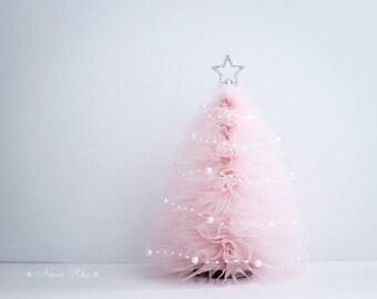 Tulle Christmas Tree, Pink Christmas Tree, Christmas Gifts, Holiday Tree,  Silver Star, Shabby Decor, Holiday Decor, Home Decor