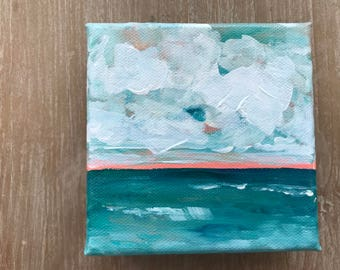 Cloud and Sea | Acrylic Seascape with teal waters, fluffy clouds and a touch of coral