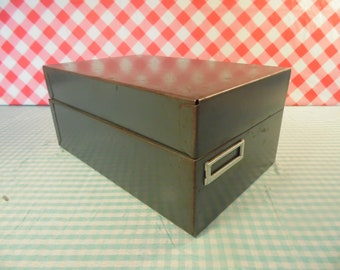 Vintage Metal Box - Card Catalog Box - Industrial Decor - 1960s