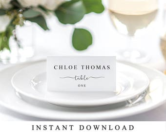 Custom Wedding Reception Place Cards, Wedding Place Card Printable, Placecard Template, Table Number Name Card Seating Card Instant Download