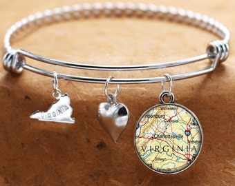 Map Charm Bracelet Charlottesville Virginia State Of VA Bangle Cuff Bracelet Vintage Map Jewelry Stainless Steel Bracelet Gifts For Her