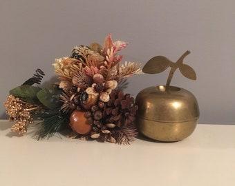 Brass Apple Jar, Trinket with Lid