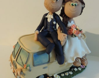 Custom cake topper on volkswagen bus