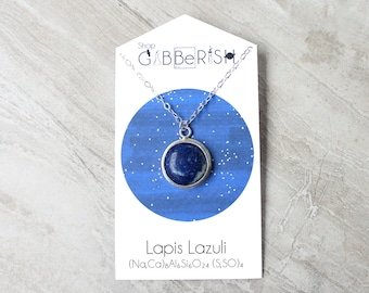 Lapis Lazuli Earth Necklace//Sterling Silver//Science Jewelry Gift//Space Rock Collection