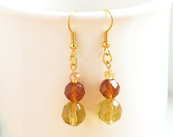 Yellow And Brown Glass Earrings, Faceted Glass Earrings, Golden Dangle Earrings On Gold-Plated Ear-Wires