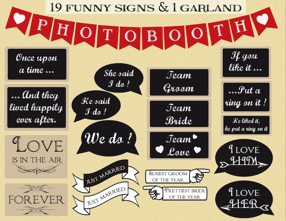 Wedding Photography Props: Printable Wedding Photobooth Props Instant Download Photo