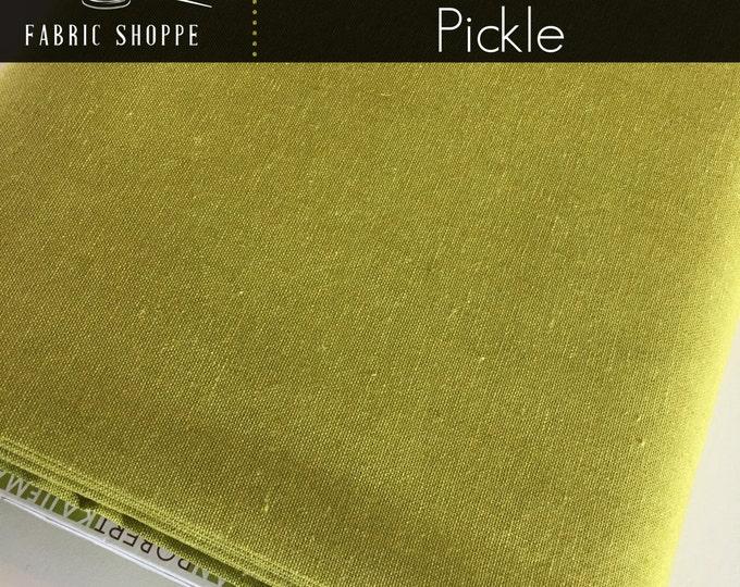 Linen Fabric, Essex Linen, Essex Yarn Dyed, Apparel Fabric, Green fabric, Cotton fabric, Linen Blend fabric, Robert Kaufman, Essex in Pickle