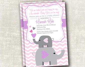 Heart Elephant Baby Shower Invitation