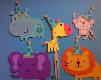 12 pc. Safari Cupcake Picks Elephant, Lion, Giraffe, Monkey, Hippo