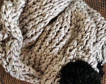 """75""""x55"""" Chunky Knit Pom Blanket"""