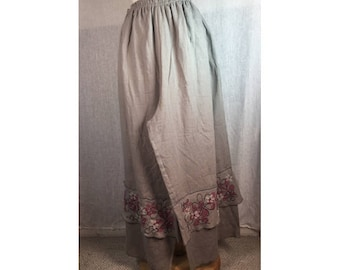 Tier Cropped Pants Gray Linen w/ Floral Art XL  Ready to Ship by Blue Fish Red Moon clothing