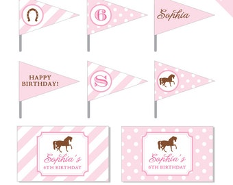 Pony Party / Horse Party - Personalized DIY printable straw flags and napkin rings