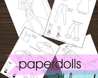 Coloring Paperdolls - Vol. 1 - Printable PDF - Instant Download