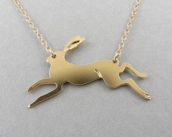 rabbit necklace running rabbit rabbit jewelry rabbit charm rabbit  animal pendant gold rabbit