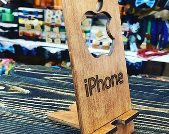 Phone stand, iPhone Stand, Docking Station and Charging Station for iPhone or android devices, handmade