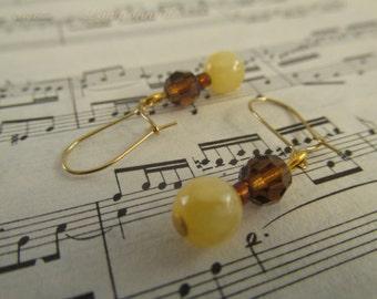 2695 - Earrings Czech Glass and Jade