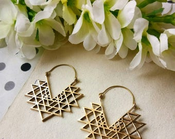 Sri Yantra Earrings, Tribal Brass Earrings. Hoop Earrings, Brass Tribal Earrings, Boho Earrings. Gypsy Earrings. Ethnic Earrings