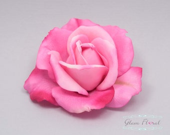 Beauty Pink Rose Hair Clip/ Brooch, Hot Pink/ Fuschia Real Touch Rose Fascinator for bridesmaids, fresh realistic look
