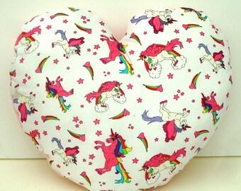 Unicorn soft heart pillow