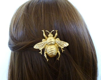 Gold Bee Barrette Bumblebee Hair Clip Bug Insect Woodland Fairy Elf Nature Garden Girls Vintage Style Accessories Wife Womens Gift For Her