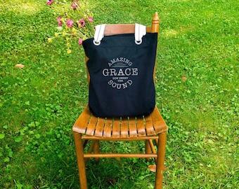 Amazing Grace canvas school bag black, shoulder canvas bag, tote everyday bag, farmers market bag, big bag tote