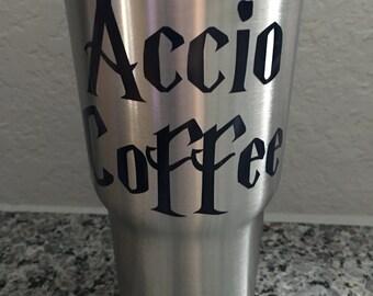 Accio Coffee Decal | Harry Potter Yeti Decal | Accio Coffee RTIC Decal |  Customized Accio Coffee Decal
