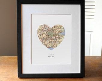 London Heart Print, London Map Print, Heart Map Print, Choose any hometown, Custom Valentines Gift, Valentines Day Print