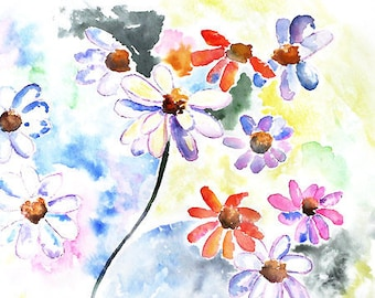 colorful art,Watercolor flowers, Daisy Painting, Flower Print, Flower Painting, Bedroom Print, Bathroom Wall Art, Bedroom decor