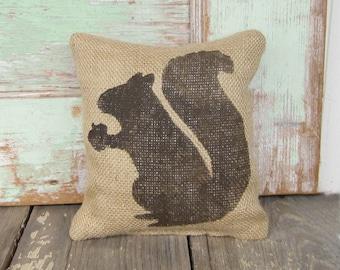 Woodland Squirrel -  Burlap Feed Sack Doorstop - Door Stop
