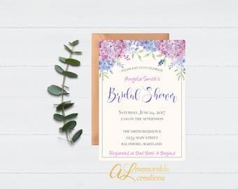 Purple Floral Bridal Shower Invitation, Floral Bridal Shower Invitation, Hydrangea Invitation, Purple Bridal Shower, Invitation, Digital