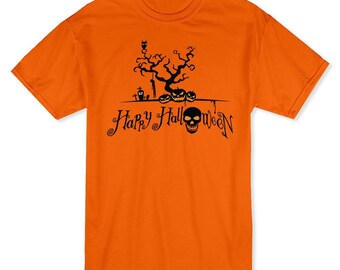 Happy Halloween Scary Graveyard And Evil Pumpkins Men's Safety Orange T-shirt