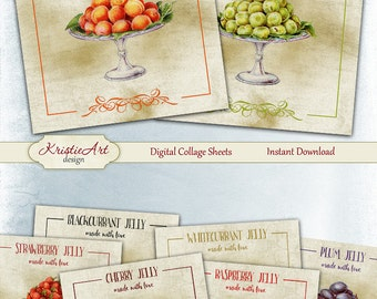 75% OFF SALE Fruit Jelly - Digital Collage Sheet - Digital cards C120 printable download cooking tags digital square image cooking atc card