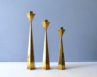 Three Modernist Mexican Brass Candlesticks