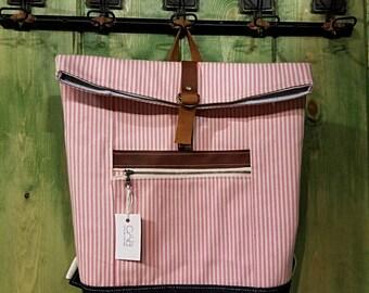 Pink Stripe Rucksack