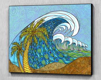 Palm Trees and Waves Wall Panel