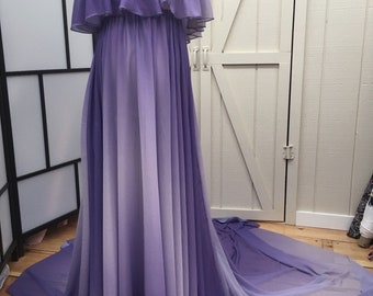 Anastasia Lavender Onbre Chiffon Full Circle Maternity Gown with long train, photo prop, off shoulders ruffle