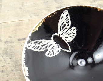 Cicada, Black & Gold Porcelain Small Bowl, Jewelry Dish, Ring Dish, Dipping Bowl