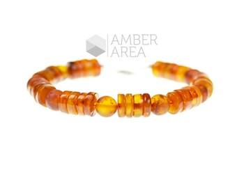 Baltic amber raw bracelet for men - men's amber bracelet Gift - raw polished amber men's bracelet - Authentic amber jewellery - 2648