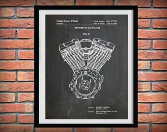 Patent 1985 Harley Evo Engine - Soft Tail Evolution Engine Poster - Wall Art - Harley Davidson - Hells Angels - Gift Idea - Harley Hog
