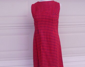 Sheath Dress Vintage 60s Red and Blue Checked Houndstooth Jumper Small Medium